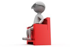 3d man on armchair in cinema concept Stock Photography