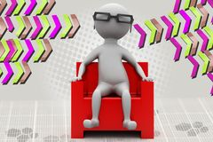 3d man on armchair in cinema illustration Royalty Free Stock Images