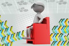 3d man on armchair in cinema illustration Royalty Free Stock Photo