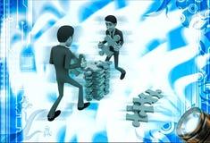 3d man arrange puzzle piece with team work illustration Stock Photos