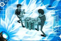 3d man arrange puzzle piece with team work illustration Royalty Free Stock Photos