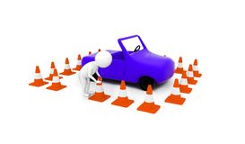 3d man arranging traffic cone around a car concept. In white isolated background - 3d rendering , side angle view royalty free illustration