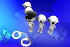 3d man arrest illustration Royalty Free Stock Photos