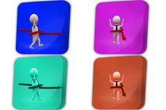 3d man arrow around icon Royalty Free Stock Images