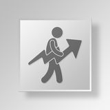 3D man with arrow chart. 3D Symbol Gray Square man with arrow chart Button Icon Concept Royalty Free Stock Photos