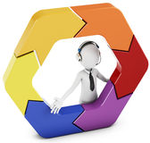 3d man with arrow hexagon Royalty Free Stock Photo