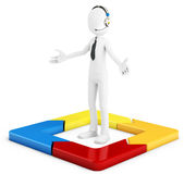 3d man with arrow square Stock Photography