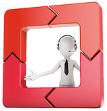 3d man with arrow square Royalty Free Stock Image