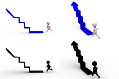 3d man arrow stairs concept collections with alpha and shadow channel Royalty Free Stock Image