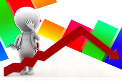3d Man Arrow  Statics Illustration Stock Images