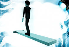 3d man on arrow walking towards arrow direction illustration Royalty Free Stock Images
