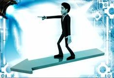 3d man on arrow walking towards arrow direction illustration Stock Photos
