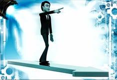 3d man on arrow walking towards arrow direction illustration Royalty Free Stock Photo