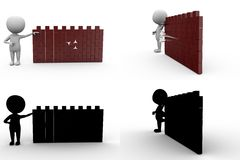 3d man arrow on wall concept collections with alpha and shadow channel Stock Image