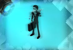 3d man as a visiting doctor illustration Royalty Free Stock Image