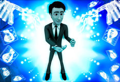3d man asking with waving one hand illustration Royalty Free Stock Photos