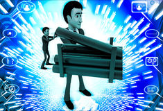 3d man asking with waving one hand illustration Royalty Free Stock Photography