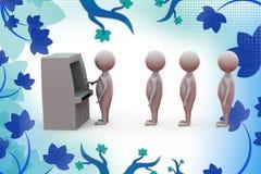 3d man atm line  illustration Stock Image