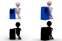 3d man with atm machine concept collections with alpha and shadow channel Stock Photos