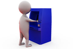 3d man atm machine concept Royalty Free Stock Photos