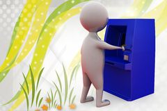 3d man atm machine  illustration Royalty Free Stock Photo