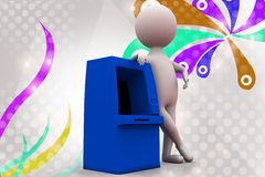 3d man with atm machine  illustration Stock Photos