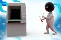 3d man atm thief  illustration Stock Images