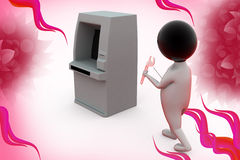 3d man atm thief  illustration Stock Image