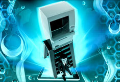 3d man atm on top of ladder concept Royalty Free Stock Photography