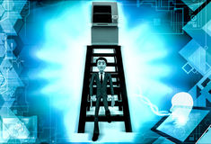 3d man atm on top of ladder concept Royalty Free Stock Photo