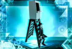 3d man atm on top of ladder concept Stock Image