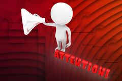 3d man with attention text illustration Royalty Free Stock Photography