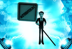 3d man with attention text sign board illustration Royalty Free Stock Image