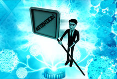 3d man with attention text sign board illustration Royalty Free Stock Photography