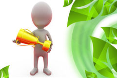 3d man with award cup illustration Royalty Free Stock Images