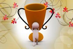 3d man award cup illustration Stock Image