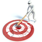3d man with an ax hits the target Royalty Free Stock Photos