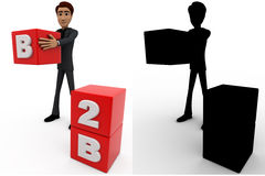 3d man with B2B with cubes concept collections with alpha and shadow channel Royalty Free Stock Photography