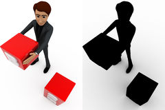 3d man with B2B with cubes concept collections with alpha and shadow channel Stock Images
