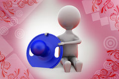 3d man baby with nipple  illustration Royalty Free Stock Images
