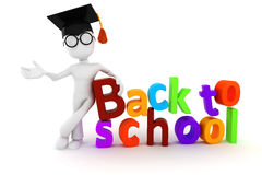 3d man and back to school text Stock Photography