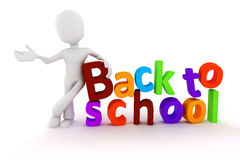 3d man and back to school text Royalty Free Stock Images