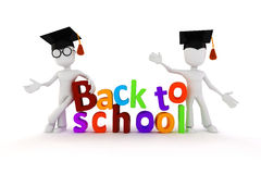 3d man and back to school text Royalty Free Stock Image