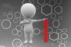 3d man bad illustration Royalty Free Stock Photography