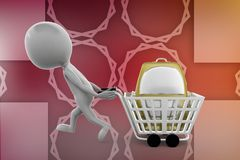 3d man bag in cart illustration Royalty Free Stock Images