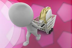 3d man bag in cart illustration Royalty Free Stock Photography