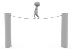 3d man balance on rope concept Royalty Free Stock Photos
