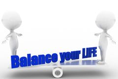 3d man balance your life Royalty Free Stock Image