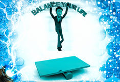 3d man with balance your life text and roller below illustration Royalty Free Stock Photo