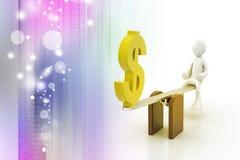 3d man balancing with dollar sign Stock Image